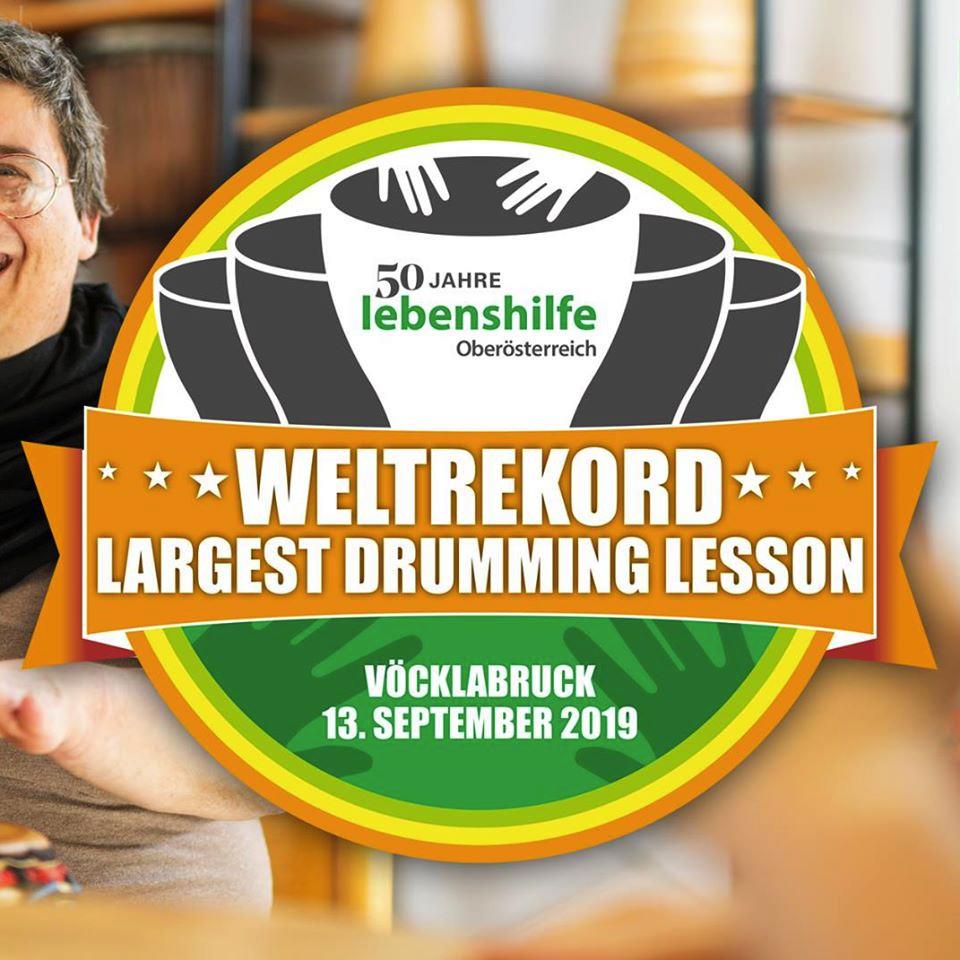 Bild 50 Jahre Lebenshilfe Oberösterreich - Weltrekord Drumming Lesson Vöcklabruck am 13. September 2019