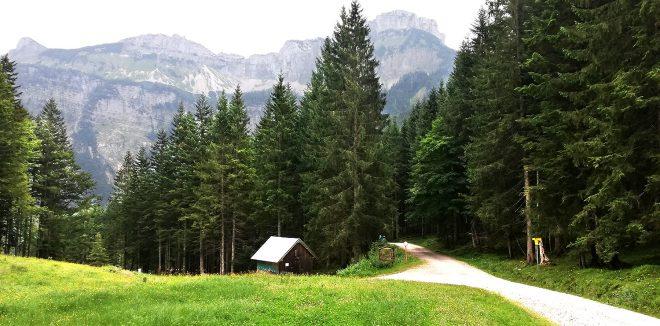 Hütte an der Forststraße zur Blaa Alm.