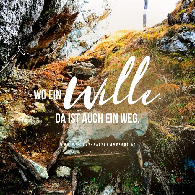 Foto: steinerner Weg auf den Sparber mit Spruch 'Wo ein Wille da ein Weg'